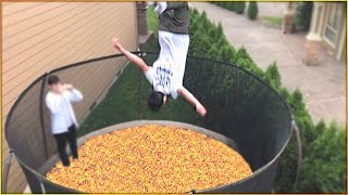 TRAMPOLINE FILLED WITH SKITTLES CHALLENGE! | David Vlas
