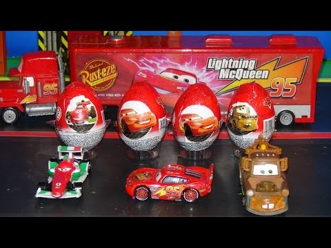 Pixar Cars, 4 Kinder Surprise Eggs delivered by Mack to Radiator Springs for Lightning McQueen, Mate