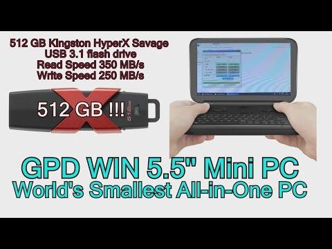 GPD Win 512 GB Kingston USB flash drive test on Portable Handheld Gaming Mini PC Intel x7 Z8750