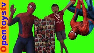 big spiderman present 6 spiderman for kids and unboxing toys with kendo! opentoystv kids videos!