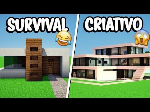 Minecraft: CASA MODERNA NO SURVIVAL VS CASA MODERNA NO CRIATIVO