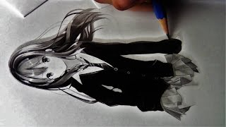 DRAWING OF A ANIME GIRL WITH LONG HAIR