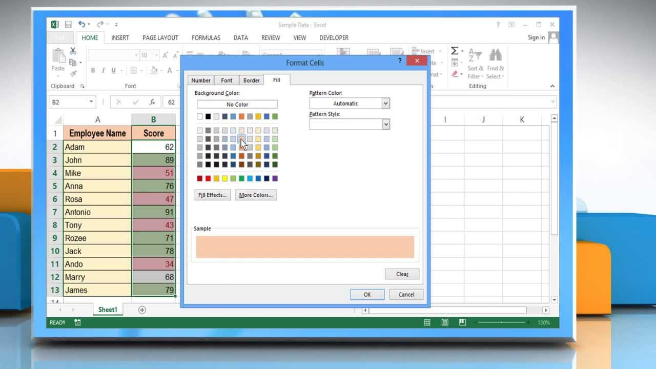 how to set default value in excel cell
