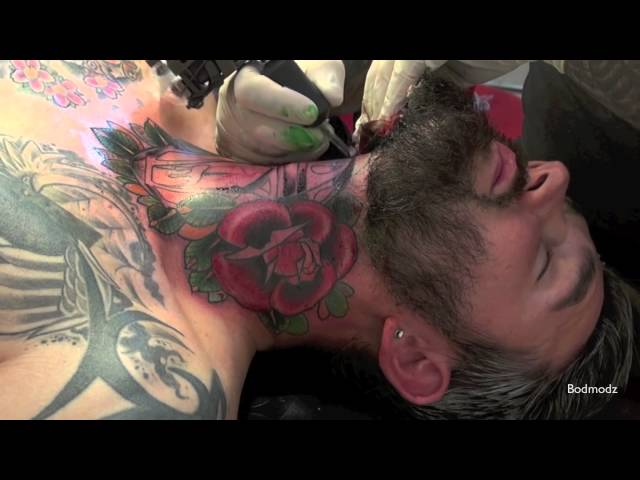 ☸ Violent Throat Tattooing ☸ Old School Color Session