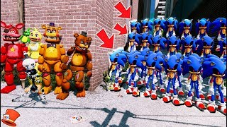 CAN THE ANIMATRONICS DEFEAT THE EVIL SONIC.EXE ARMY? (GTA 5 Mods FNAF Kids RedHatter)