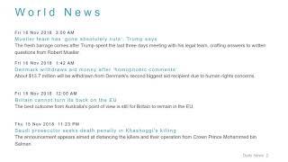 World News Headlines for 16 Nov 2018 - 8 AM Edition