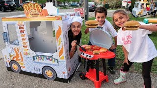 Kids Drive Thru Pretend Play with Cooking BBQ Grill Toy and Food Truck