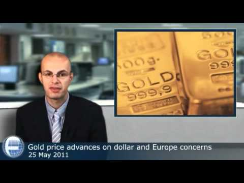 Gold price advances on dollar and Europe concerns