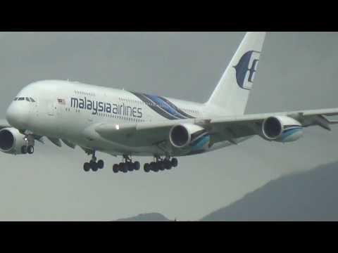 Malaysia Airline A380 Landing Hong Kong