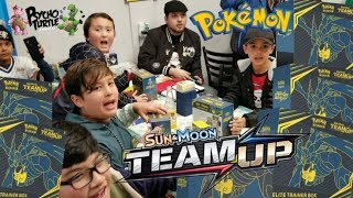 THE BIGGEST NEW POKEMON CARD LAUNCH PARTY EVER!! HUGE TEAM UP ELITE TRAINER BOX BATTLE!!