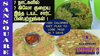7 Days diet plan   1000 Calories weight loss diet plan to lose 7 kgs in a week fast   San square