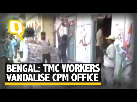 The Quint: Euphoric Trinamool Congress Workers Vandalise CPI(M) Office