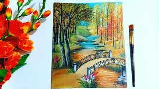 Landscape painting for beginners||step by step painting tutorial ||Acrylic on canvas
