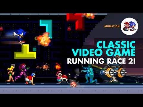 Classic Video Game characters in a running race reunion