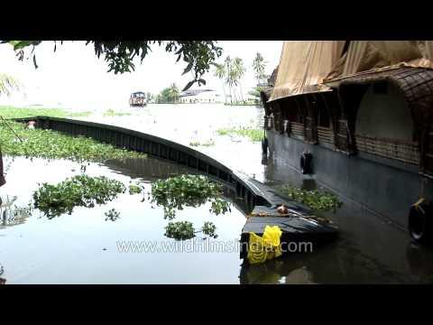 Traditional snake boat overturned at punnamada backwater kerala