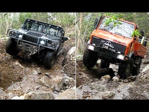 UNIMOG vs HUMMER Extreme OFFROAD testing the same STEEPY, MUDDY with BIG ROCKS HILL