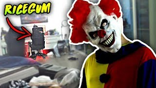 SCARY KILLER CLOWN PRANK ON RICEGUM (HE FREAKS OUT)