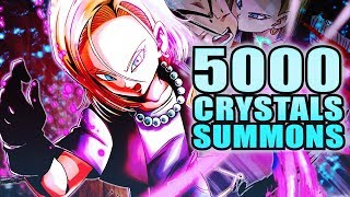 5000 CRYSTAL SUMMONS! BLUE SPARKING ANDROID 18 SUMMONS! | DB Legends