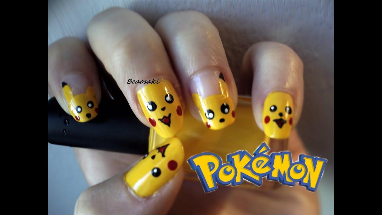 Pikachu Acrylic Nails Pikachu Nail Art