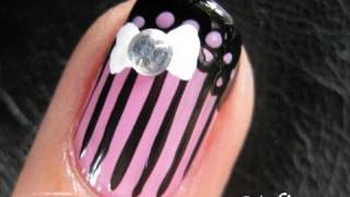 Lace Nails - Pink & Black Lace Corset Bow Nail Art Design French Tip 美甲彩绘教程 uñas arte