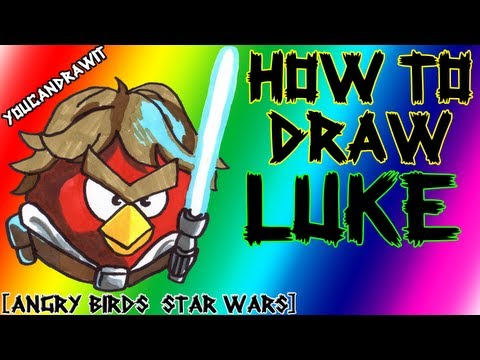 How To Draw Luke Skywalker Bird from Angry Birds Star Wars ✎ YouCanDrawIt ツ