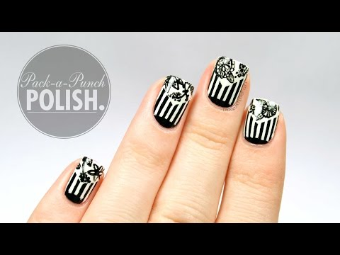 Black & White Floral & Stripes Nail Art Tutorial | PackAPunchPolish