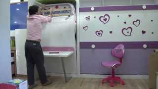 Muebles Parchis| Video explicativo funcionamiento cama abatible vertical con mesa plegable| MADRID