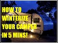 How to winterize a camper in LESS than 5 Min! / RV Winnebago Drop