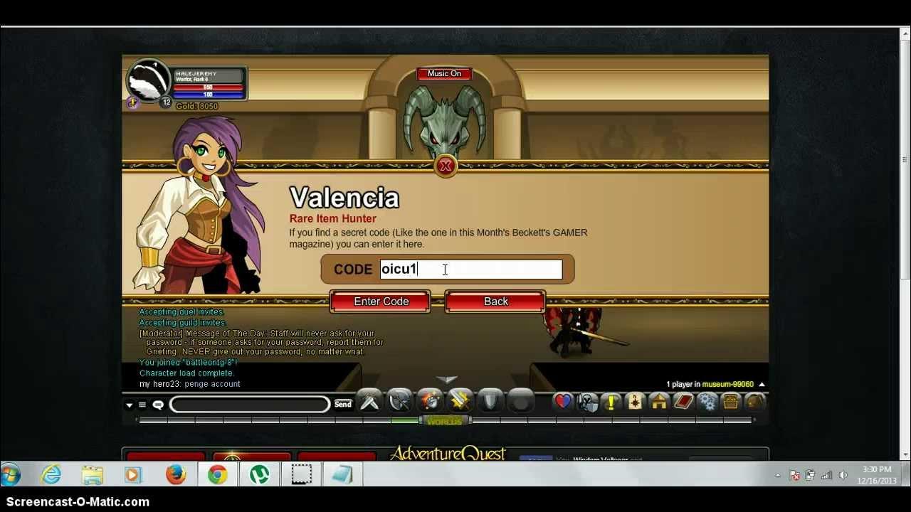 Aqw All Valencia Codes 2013 - YouTube