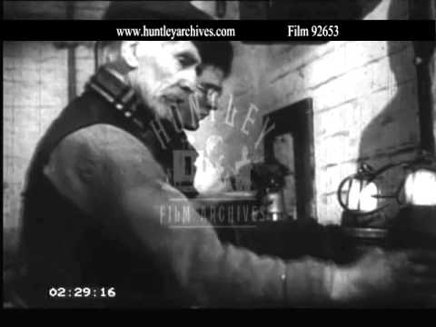 1950's coal mining preparing to go underground.  Archive film 92653