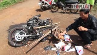 Clip hai thanh niên trộm chó bị đánh chết, đốt xe