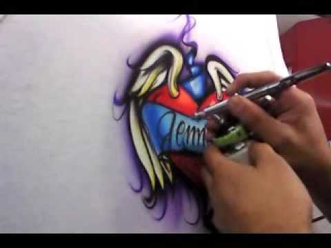 heart & wings airbrushed