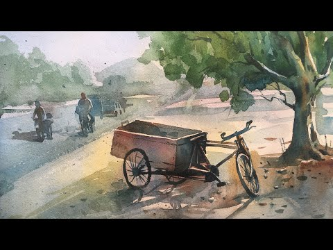 Watercolor Painting | Morning Sunlight | Process of watercolor painting demonstration step by step.