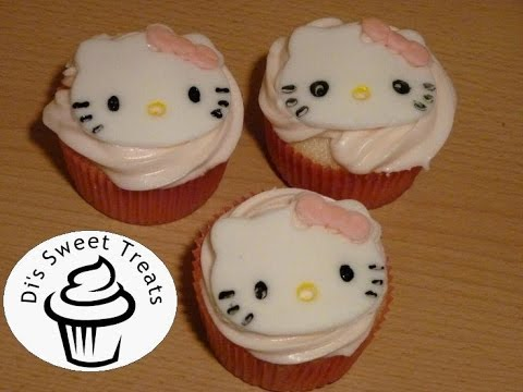 Hello Kitty Cupcakes- Fondant Cupcake Toppers- Di's Sweet Treats