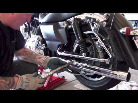 How to remove install rear wheel tire of Haley Davidson Motorcycle; Law Abiding Biker Podcast