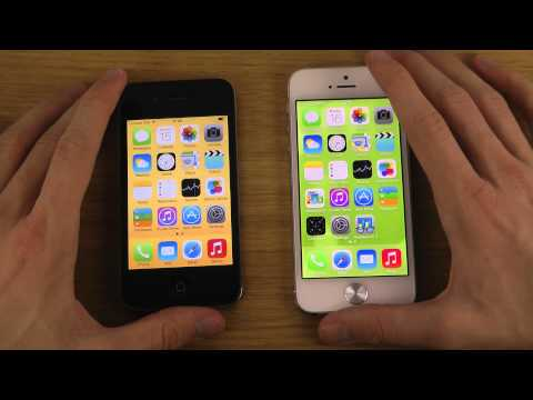iPhone 5 iOS 7 GM vs. iPhone 4 iOS 7 GM - Opening Apps Speed Test