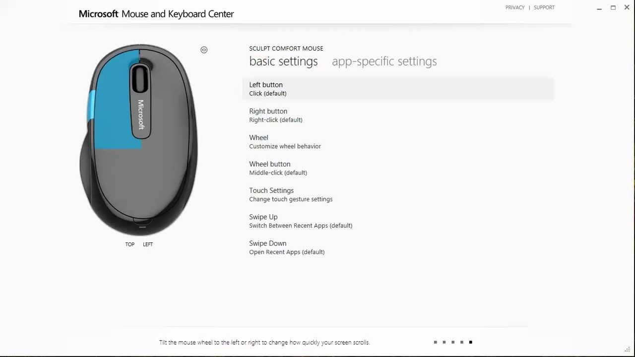 Which devices are supported by Microsoft Mouse and Keyboard Center?