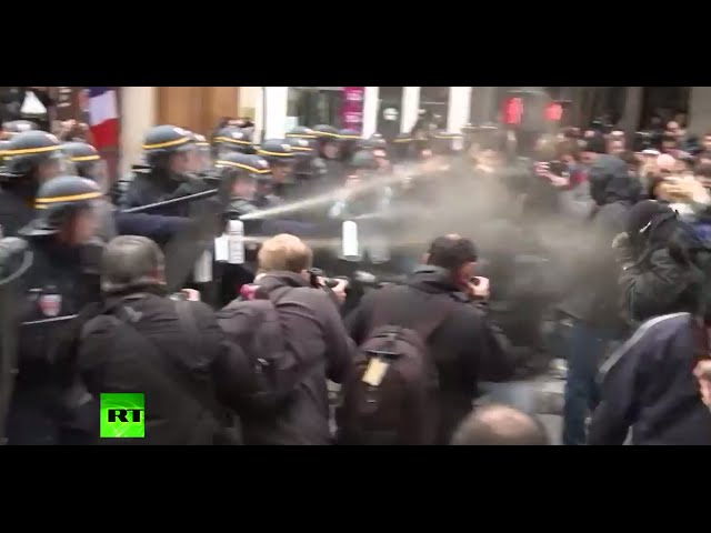 Police use pepper spray to disperse protesters at Global Climate March in Paris