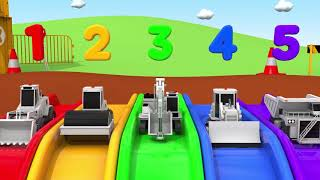 Learn Colors Construction Vehicle Pushing Tractor and Magic Water Slide Nursery Rhymes & Kids Songs