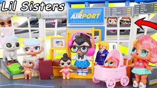 LOL Surprise Dolls + Lil Sisters Visit Playmobil Airport