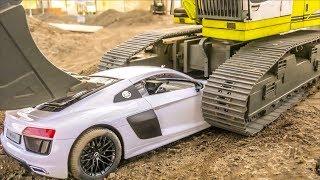 Audi R8 parking fail! RC Trucks work hard! Trucks stuck! Roller stuck!