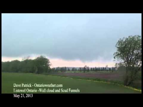 Wall Cloud and Scud Funnels - Listowel Ontario May 21, 2013