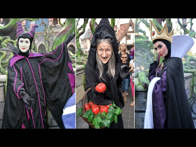 Disney Villains Montage at Disneyland Paris - Maleficent's Court w/Hag, Evil Queen, Gaston, Cruella+