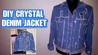 DIY Crystal Denim Jacket - DIY Rhinestone Jean Jacket