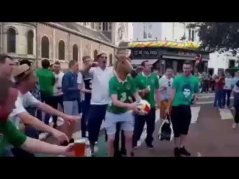 Irish Fan with a Horse Mask kicks Ball into a Hotel Window - EURO 2016
