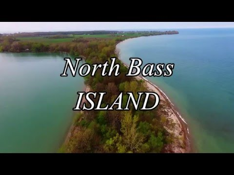 Relaxing shores of North Bass Island by drone Lake Erie Isle of St. George