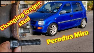 How to Change longer Hub Screw / Stud | Perodua Kancil Mira L2s