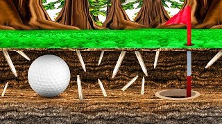 HOW TO SURVIVE IN DEADLY UNDERWORLD GOLFING! (Golf It)