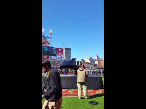 Arianna Korting plays The Star Spangled Banner for Cleveland Indians Home Opener 2015