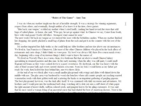 an analysis of chinese american culture in rules of the game by amy tan An analysis of chinese-american culture in rules of the game by amy tan pages 2 more essays like this: amy tan, rules of the game, chinese american culture.